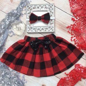 Other - Boutique Baby Girls Buffalo Plaid Skirt & Headband